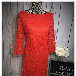 Eliza J Red Lace Sheath Dress 14